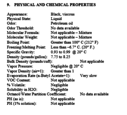 Physical Properties of PS300 boiler fuel